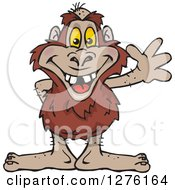 Clipart Of A Bigfoot Yowie Waving Royalty Free Vector Illustration by Dennis Holmes Designs