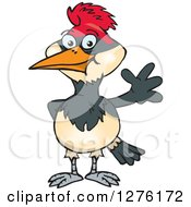 Clipart Of A Happy Woodpecker Waving Royalty Free Vector Illustration by Dennis Holmes Designs