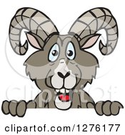 Clipart Of A Happy Bighorn Sheep Peeking Over A Sign Royalty Free Vector Illustration