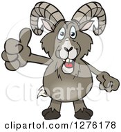 Clipart Of A Happy Bighorn Sheep Giving A Thumb Up Royalty Free Vector Illustration