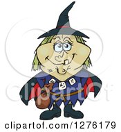 Clipart Of A Happy Witch Standing Royalty Free Vector Illustration by Dennis Holmes Designs