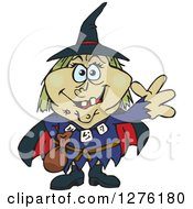 Clipart Of A Happy Witch Waving Royalty Free Vector Illustration by Dennis Holmes Designs