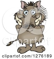 Clipart Of A Happy Warthog Standing Royalty Free Vector Illustration