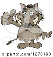 Clipart Of A Happy Warthog Holding A Thumb Up Royalty Free Vector Illustration
