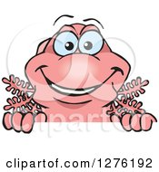 Clipart Of A Pink Walking Fish Peeking Over A Sign Royalty Free Vector Illustration by Dennis Holmes Designs