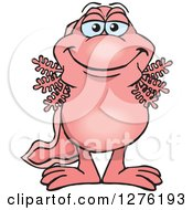 Clipart Of A Pink Walking Fish Standing Royalty Free Vector Illustration by Dennis Holmes Designs