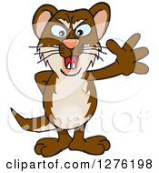 Clipart Of A Happy Weasel Waving Royalty Free Vector Illustration by Dennis Holmes Designs