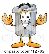 Clipart Picture Of A Garbage Can Mascot Cartoon Character With Welcoming Open Arms by Toons4Biz