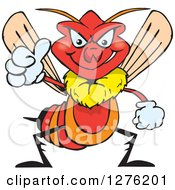 Clipart Of A Grinning Wasp Holding A Thumb Up Royalty Free Vector Illustration by Dennis Holmes Designs