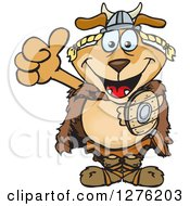 Clipart Of A Happy Sparkey Dog Viking Holding A Thumb Up Royalty Free Vector Illustration by Dennis Holmes Designs