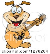 Clipart Of A Sparkey Dog Playing A Guitar Royalty Free Vector Illustration by Dennis Holmes Designs