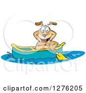 Clipart Of A Sparkey Dog Paddling A Canoe Royalty Free Vector Illustration