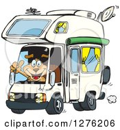 Clipart Of A Happy Sparkey Dog Holding A Thumb Up And Driving An Rv Royalty Free Vector Illustration