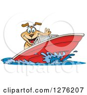 Clipart Of A Sparkey Dog Driving A Speed Boat Royalty Free Vector Illustration