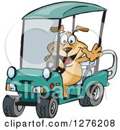 Clipart Of A Sparkey Dog Driving A Golf Cart And Waving Royalty Free Vector Illustration by Dennis Holmes Designs