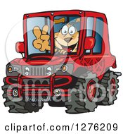 Clipart Of A Happy Sparkey Dog Gesturing Peace And Driving A Red Hummer Car Royalty Free Vector Illustration