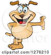 Clipart Of A Happy Sparkey Dog Leaning Royalty Free Vector Illustration