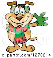 Clipart Of A Waving Sparkey Dog Wearing A Winter Scarf And Ear Muffs Royalty Free Vector Illustration