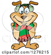 Clipart Of A Sparkey Dog Wearing A Winter Scarf And Ear Muffs Royalty Free Vector Illustration