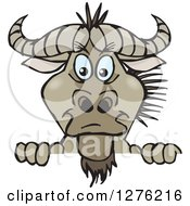Clipart Of A Wildebeest Peeking Over A Sign Royalty Free Vector Illustration
