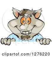 Clipart Of A Happy Werewolf Peeking Over A Sign Royalty Free Vector Illustration