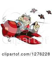 Clipart Of A Happy Vampire Holding A Thumb Up And Flying A Plane With Bats Royalty Free Vector Illustration