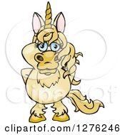 Clipart Of A Happy Unicorn Standing Royalty Free Vector Illustration by Dennis Holmes Designs