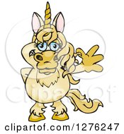 Clipart Of A Happy Unicorn Waving Royalty Free Vector Illustration by Dennis Holmes Designs