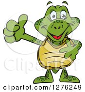 Clipart Of A Happy Sea Turtle Holding A Thumb Up Royalty Free Vector Illustration by Dennis Holmes Designs
