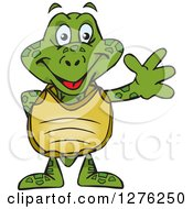 Clipart Of A Happy Sea Turtle Waving Royalty Free Vector Illustration