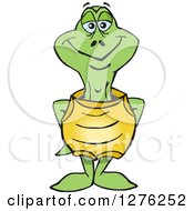 Clipart Of A Happy Turtle Standing Royalty Free Vector Illustration by Dennis Holmes Designs