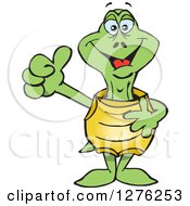 Clipart Of A Happy Turtle Holding A Thumb Up Royalty Free Vector Illustration by Dennis Holmes Designs
