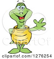 Clipart Of A Happy Turtle Waving Royalty Free Vector Illustration by Dennis Holmes Designs