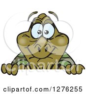 Clipart Of A Happy Old Tortoise Peeking Over A Sign Royalty Free Vector Illustration by Dennis Holmes Designs