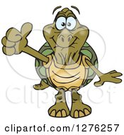Clipart Of A Happy Old Tortoise Holding A Thumb Up Royalty Free Vector Illustration by Dennis Holmes Designs