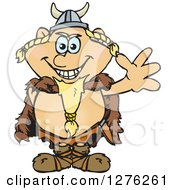 Clipart Of A Happy Blond Male Viking Waving Royalty Free Vector Illustration by Dennis Holmes Designs