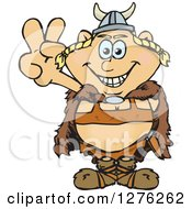 Clipart Of A Happy Blond Female Viking Gesturing Peace Royalty Free Vector Illustration by Dennis Holmes Designs