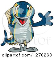 Clipart Of A Happy Tuna Fish Waving Royalty Free Vector Illustration by Dennis Holmes Designs