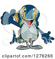 Clipart Of A Happy Tuna Fish Holding A Thumb Up Royalty Free Vector Illustration by Dennis Holmes Designs