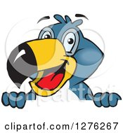 Clipart Of A Happy Toucan Bird Peeking Over A Sign Royalty Free Vector Illustration
