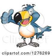 Clipart Of A Happy Toucan Bird Holding A Thumb Up Royalty Free Vector Illustration