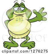 Clipart Of A Friendly Waving Bullfrog Royalty Free Vector Illustration by Dennis Holmes Designs