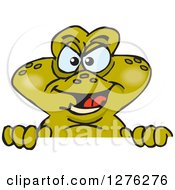 Clipart Of A Toad Peeking Over A Sign Royalty Free Vector Illustration
