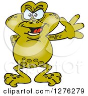 Clipart Of A Happy Toad Waving Royalty Free Vector Illustration by Dennis Holmes Designs