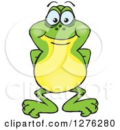 Clipart Of A Happy Frog Royalty Free Vector Illustration