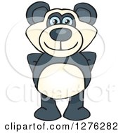 Clipart Of A Happy Blue Eyed Panda Standing Royalty Free Vector Illustration
