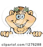 Clipart Of A Happy Greek Man In A Toga Peeking Over A Sign Royalty Free Vector Illustration