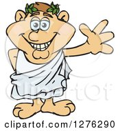Clipart Of A Happy Waving Greek Man In A Toga Royalty Free Vector Illustration by Dennis Holmes Designs