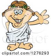 Clipart Of A Happy Waving Greek Woman In A Toga Royalty Free Vector Illustration by Dennis Holmes Designs