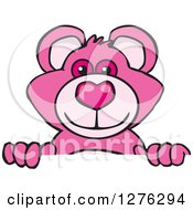 Clipart Of A Pink Teddy Bear Peeking Over A Sign Royalty Free Vector Illustration